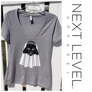 Darth Vader Bride V-neck short sleeve t-shirt gray